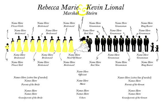 new silhouette wedding program diy instant download template  yellow and black 22 in bridal