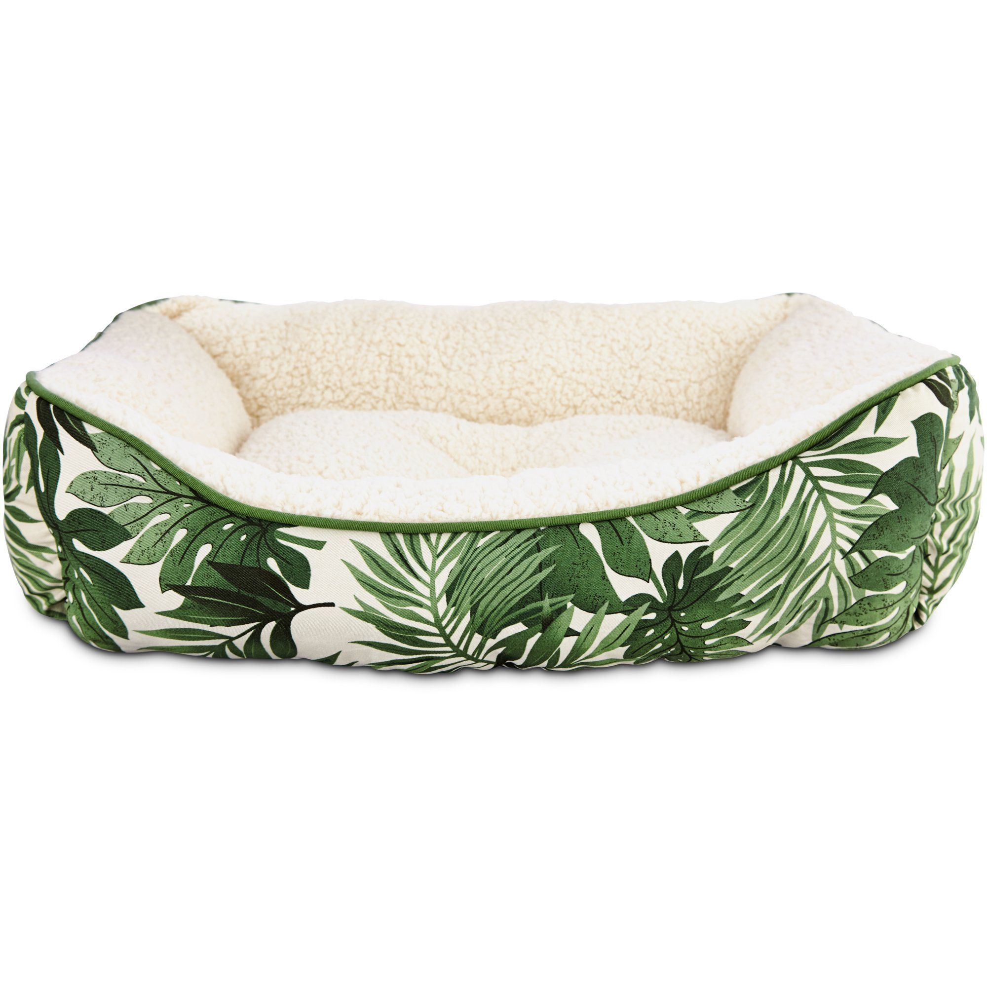 pets on safari dog bolster bed in palm leaf print - treat your pup