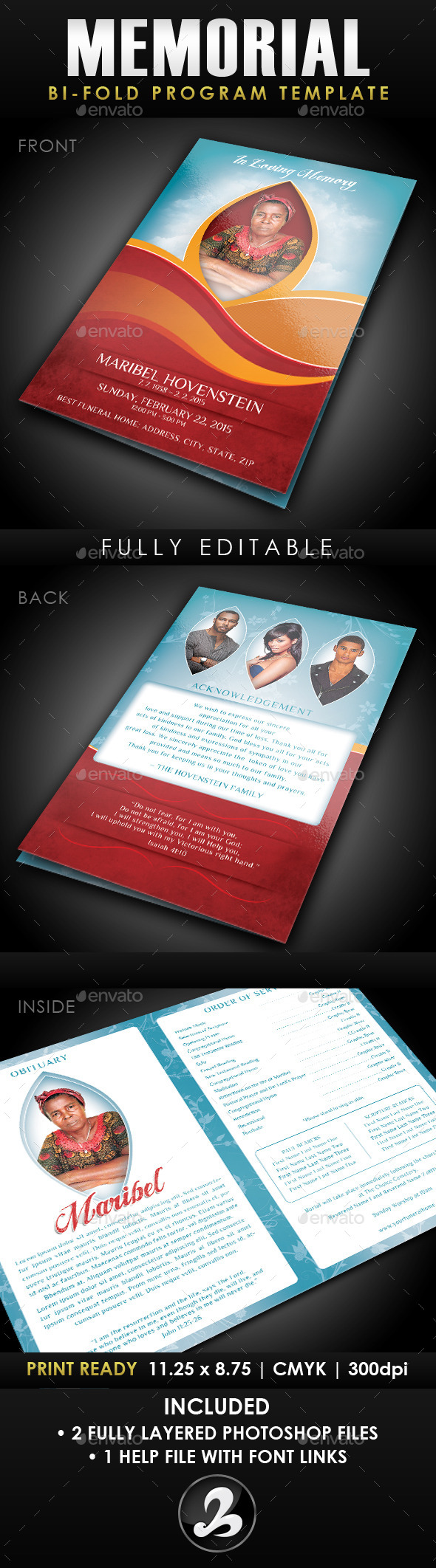 Memorial Program Template   Program Template Fonts And Colors