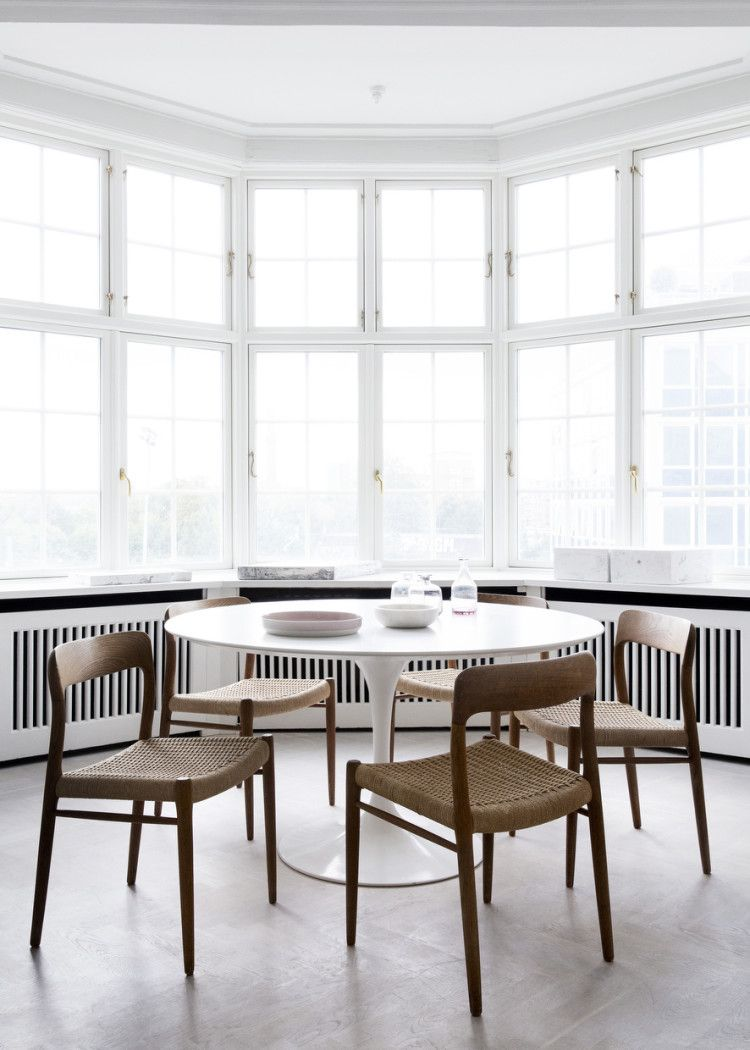 Apartment Airy Scandinavian Dining Nook With Mid Century White Bay Interesting Scandinavian Dining Room Sets 2018