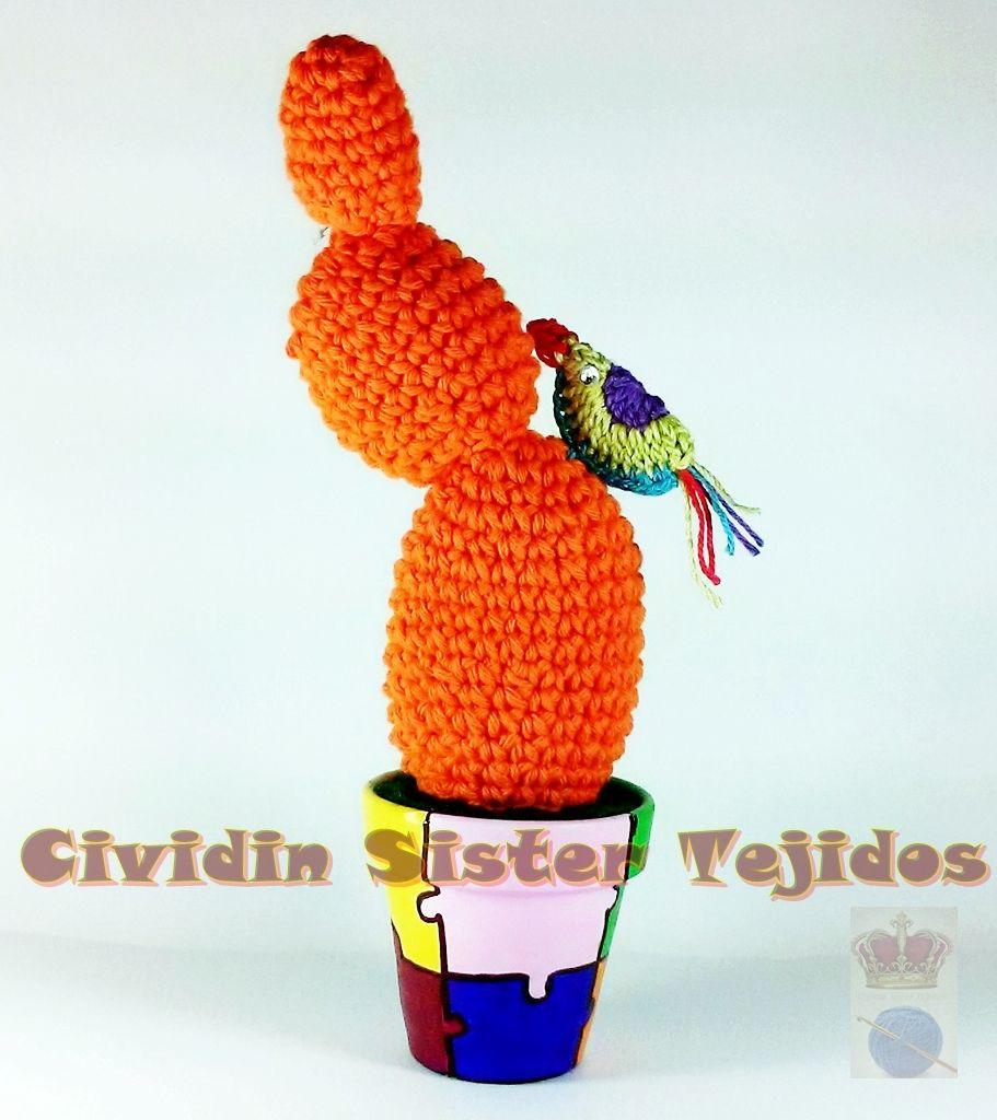 Cactus tejidos al crochet con macetas de barro n 7 - Macetones de barro ...