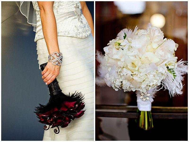 Flowers Take A Cue From The Flers And Add Feathers Or Brooches To 1920s Wedding Themesgreat Gatsby Weddingart Deco