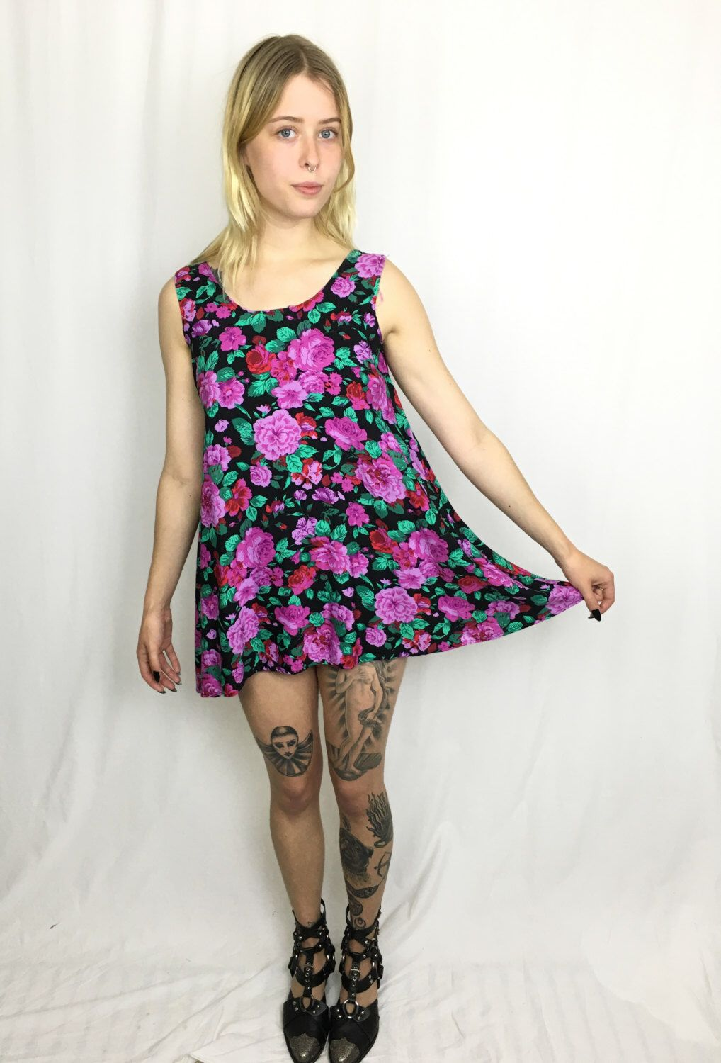 Vintage s floral trapeze dress size medium by survivalresearchlabs