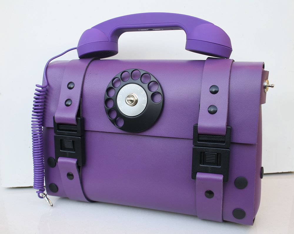 Genuine leather shoulder bag for women, purple color telephone ...