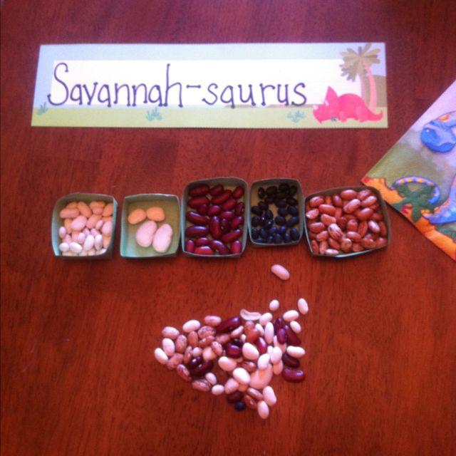 Great sorting idea - dinosaur eggs!