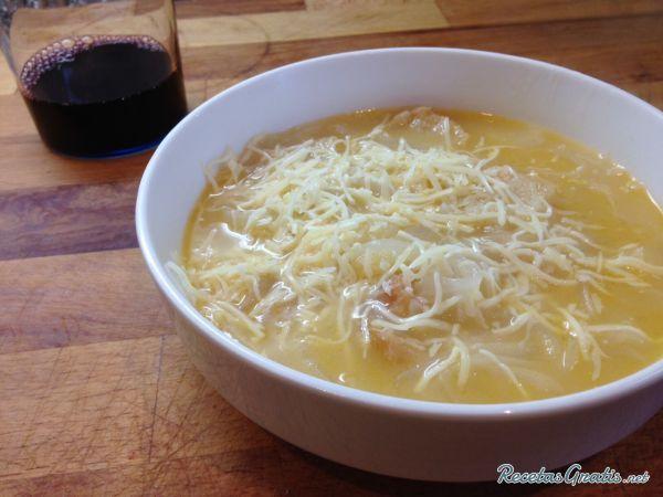 Con cebolla queso de sopa