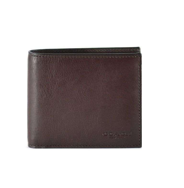 e0a2c777e454 Coach F75084 Mens Signature Mahogany Calf Leather Double Bill Wallet MSRP   150  Coach  Bifold