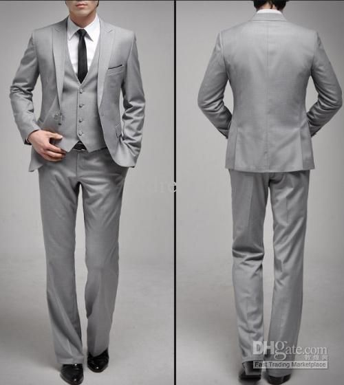 Grey Mens Wedding Suit Groom Suits Set One On Dress