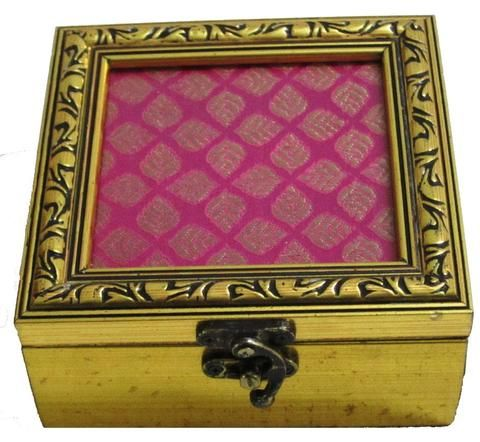 Brocade Home Decor Decoration pink brocade small square wooden box  folkbridge | buy gifts