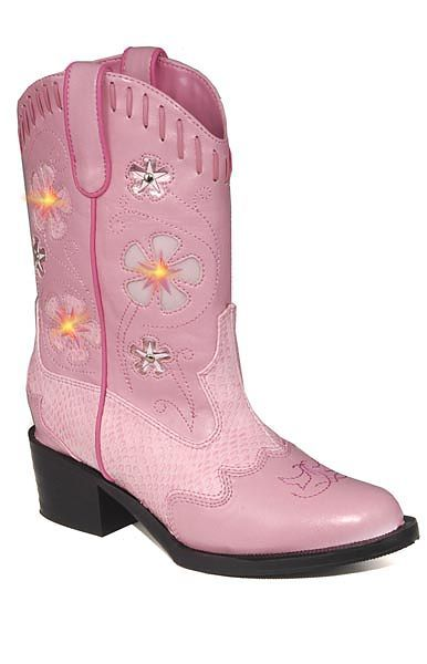 6dd10e9bc6a Childs Light-up Cowboy Boots in Pink w/ Pink Snake - Rocky Top ...