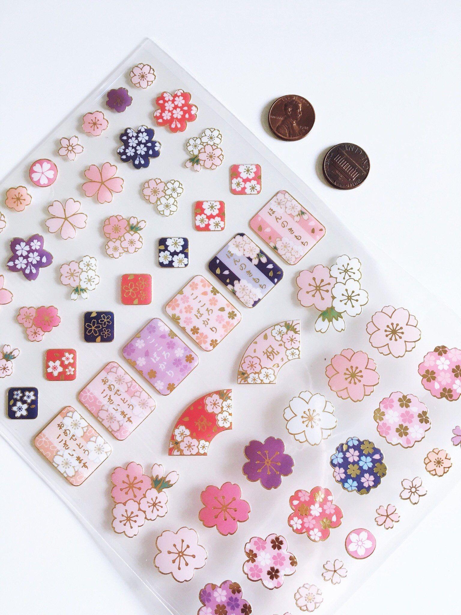 Sakura Ville Japanese Style Cherry Blossom Stickers 1 Sheet Sakura Cherry Blossom Print Stickers