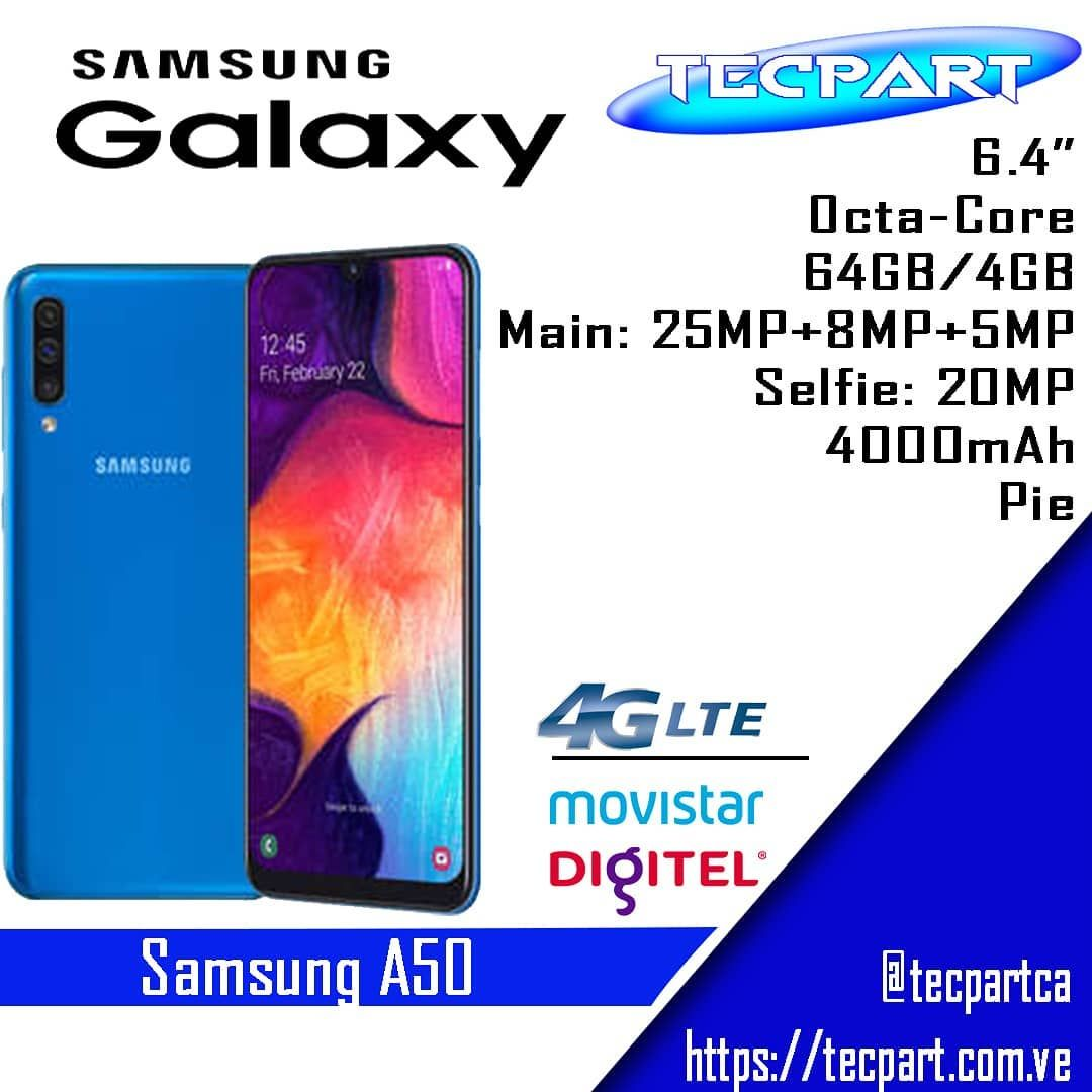 """Tecpart, C.A on Instagram: """"📱 Samsung A50 🤩 Un equipo diseñado para otorgar una visión de alta definición con una pantalla de Extremo a Extremo 😁 Cuenta con una triple…"""""""