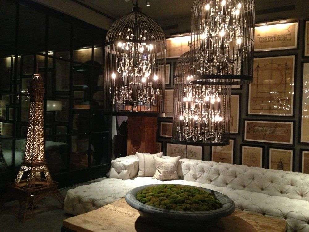 Birdcage chandeliers at flagship Restoration Hardware in ...