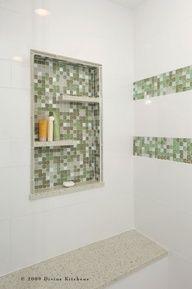 Built-in tile shelves in shower