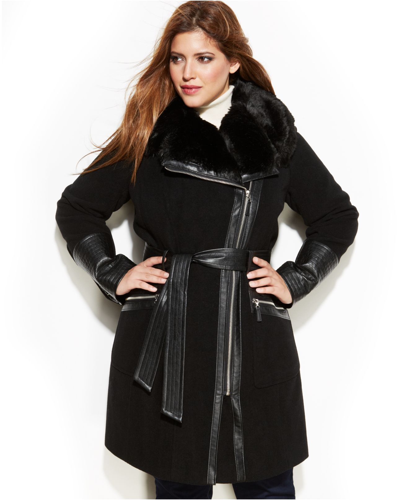 Plus size coats with fur trim
