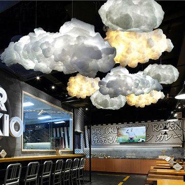 White Floating Cloud Pendant Light Restaurant Bar Lamp Fixture For