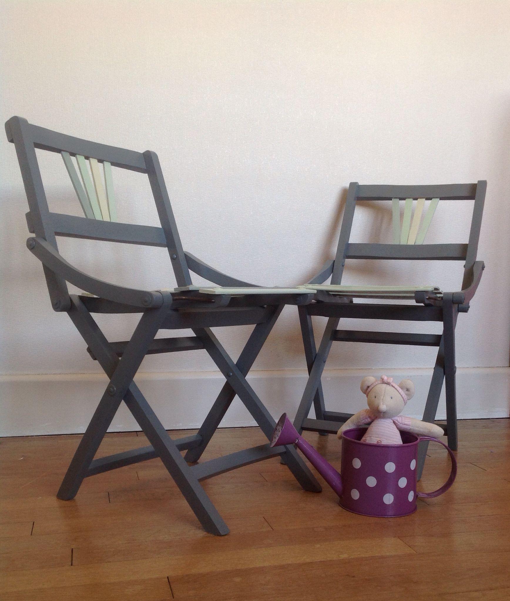 Chaises Pliantes En Bois Vintage Enfant 50 S Renovees Par Atelier 7