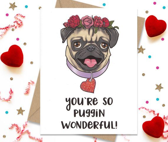 Anniversary Card Funny Greeting Pug Lover Gift Dog Birthday For Her
