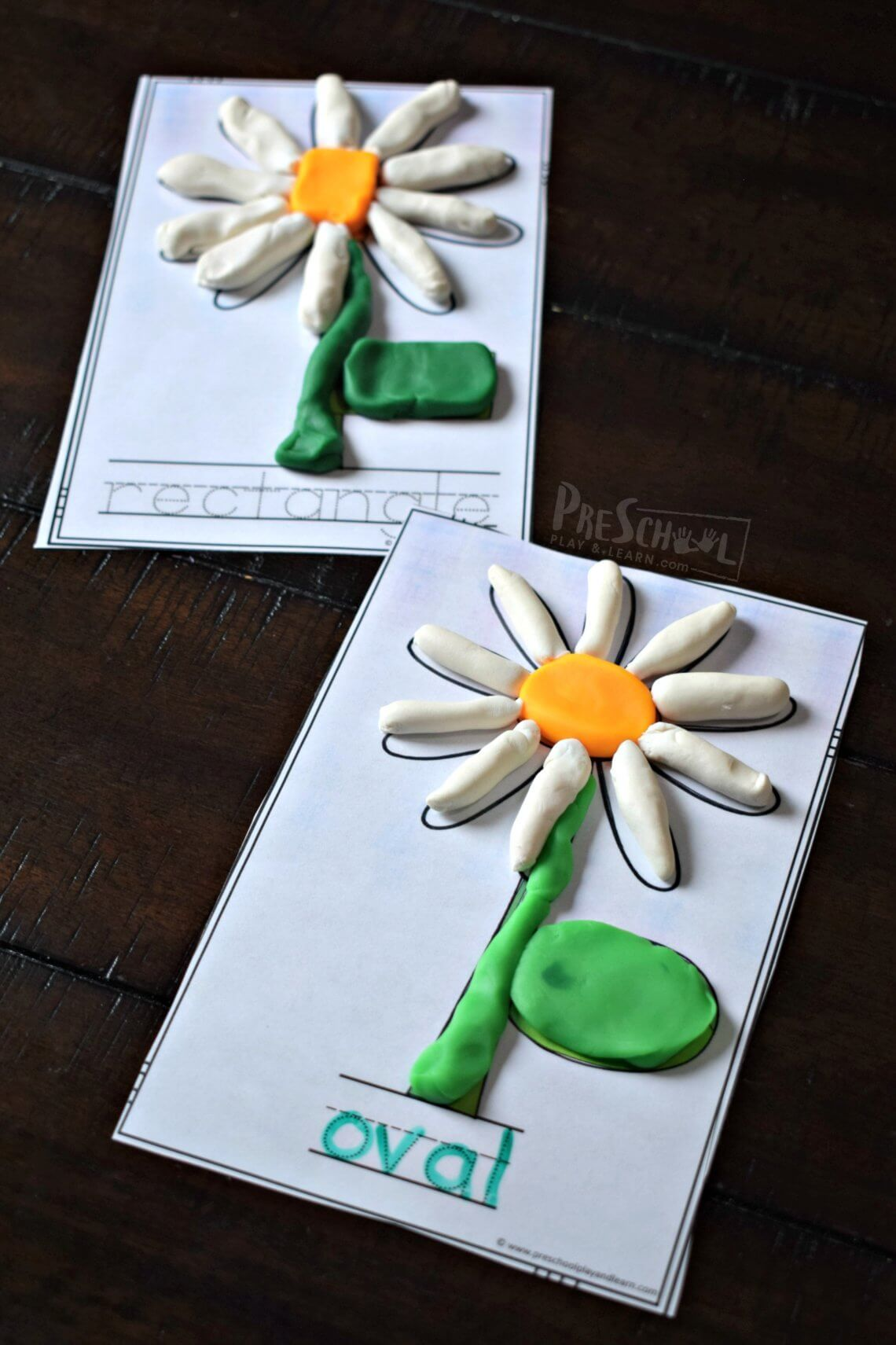 Flower Shape Playdough Mats