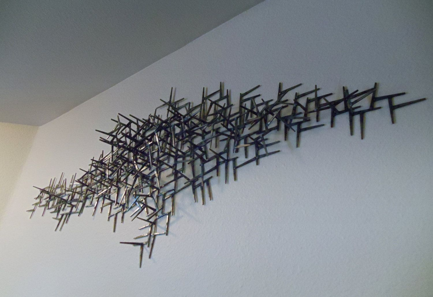 Large Metal Wall Art Welded Nails Wall Hanging Sculpture Metal