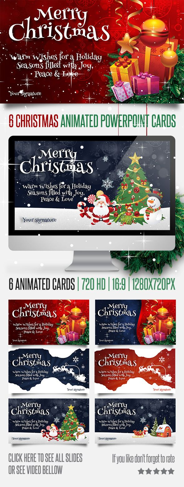 6 Christmas Powerpoint Animated Cards Christmas Powerpoint Template Powerpoint Animation Christmas Templates
