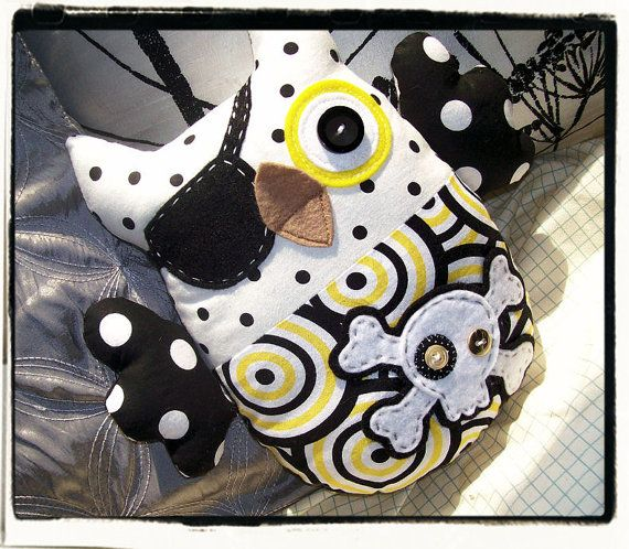 PIRATE OWL  Black White Yellow Circles by MyLittleFeather on Etsy, $35.00