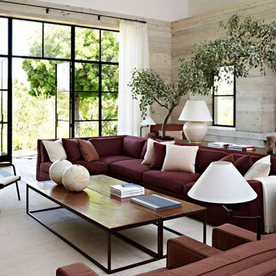 Good Decorating A Neutral Living Room, With A Maroon Couch