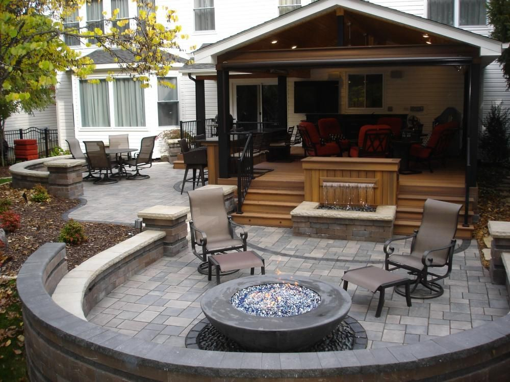 Superior After   Fiberon Deck With Fixed Roof, Paver Patio, Fire Pit, Water Feature