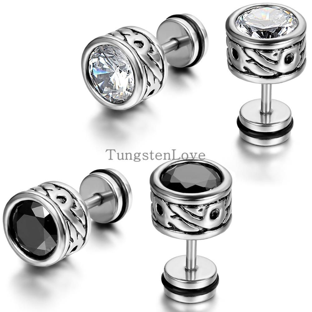 High Quality Cool Mens Earring Ear Stud Stainless Steel Cz Crystal Fake Plug 2 Color