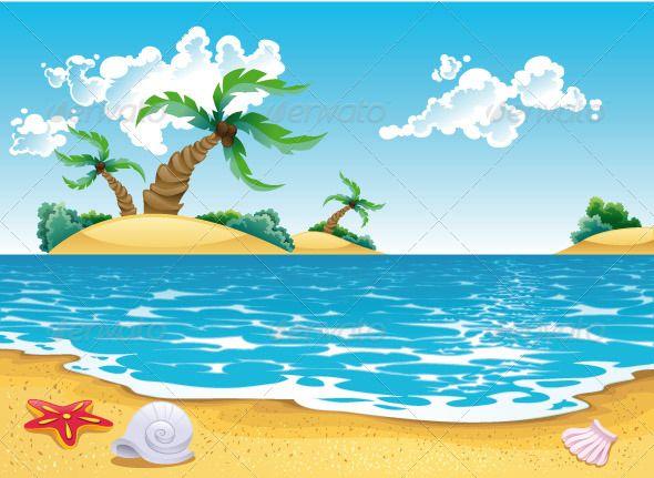 Cartoon Seascape Beach Illustration Beach Painting Beach Background