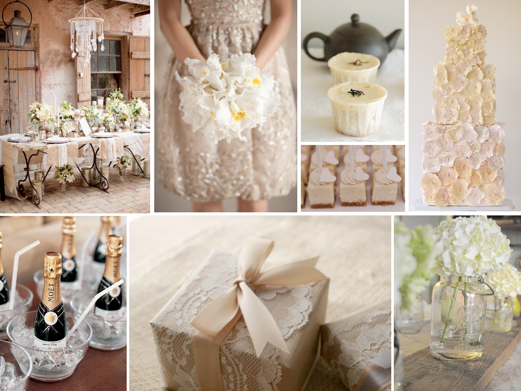 Naturally Neutral Shabby Chic Wedding Ivory And Champagne Tones Colors