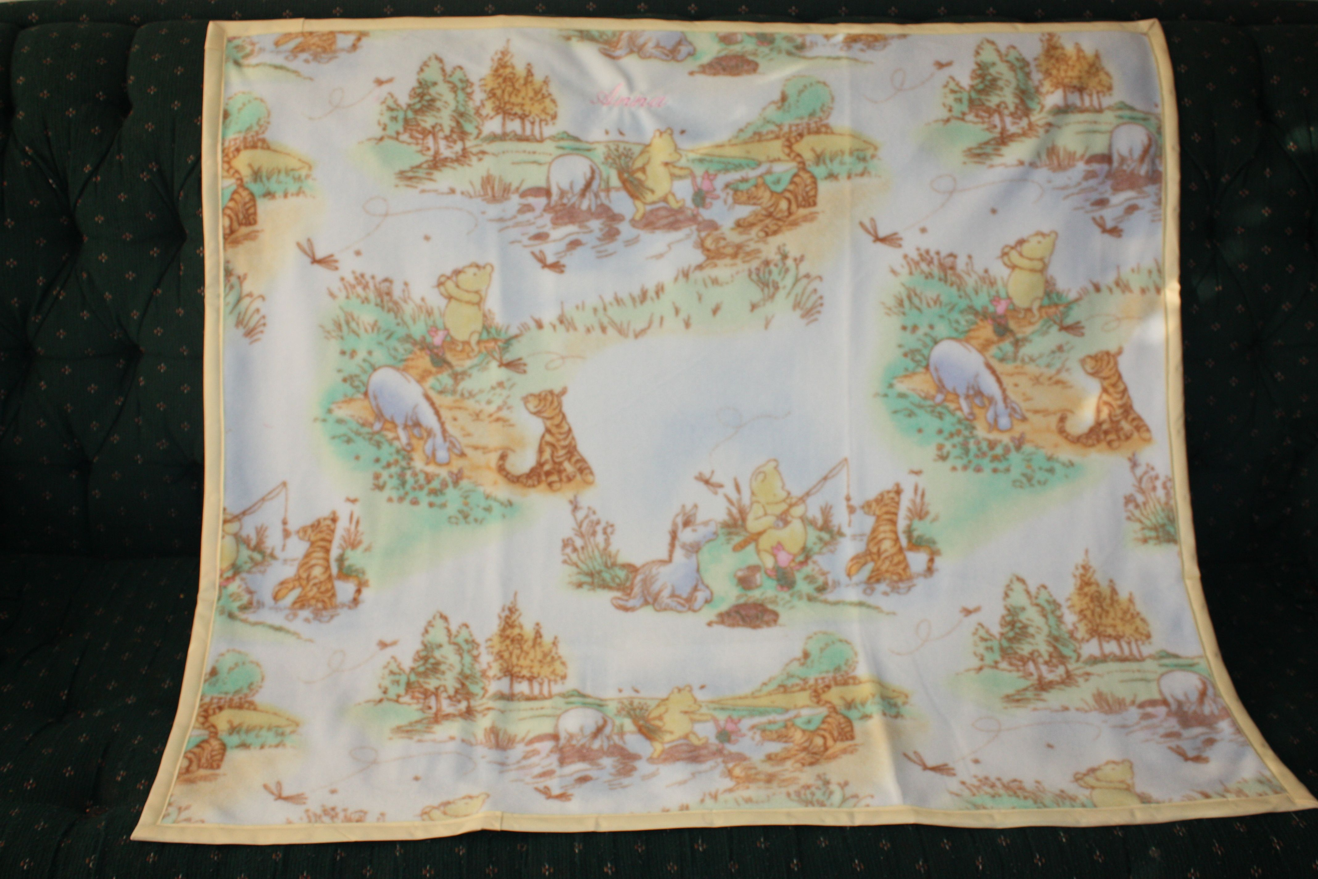 Winnie the pooh fleece baby blanket with personalization christmas