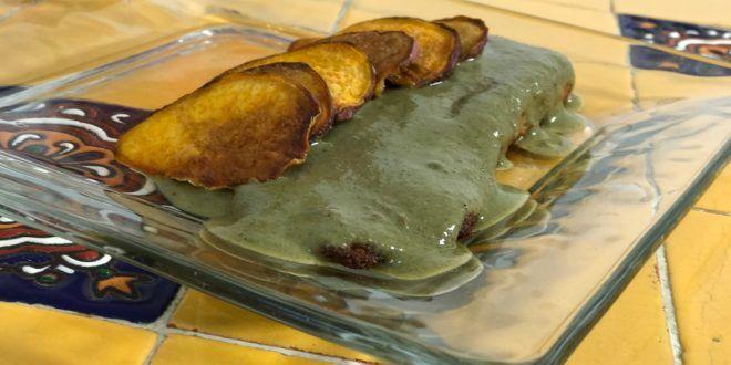 Receta Filetes de pescado empanizados con mole verde y chips de camote