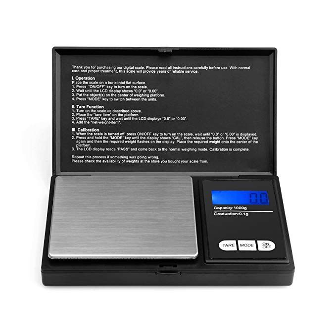 1ba211cf99fd Ascher Elite Digital Pocket Scale 1000 x 0.1g, with Back-lit LCD ...
