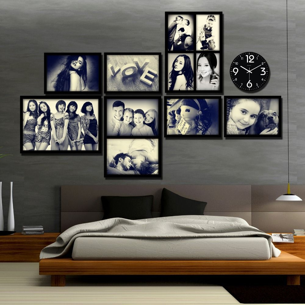 modern picture frames collage. Find More Frame Information About Creative Modern Wall Wood Picture Frames With Clock Art Collage O