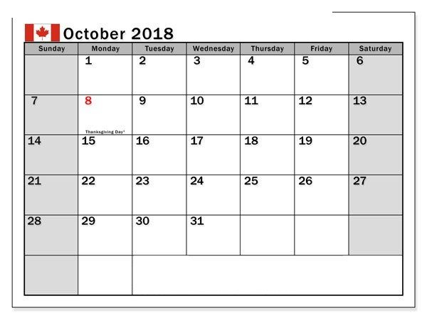 October 2018 Calendar Canada Word Template October 2018 Calendar
