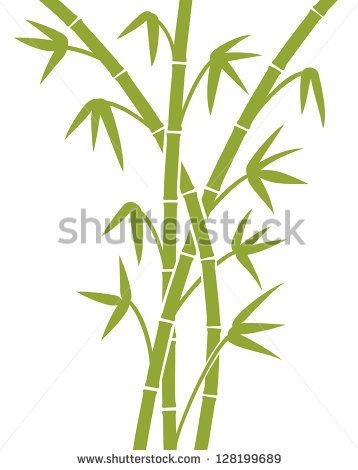 Green Bamboo Stems Bamboo Vector Illustration Bamboo Leaves