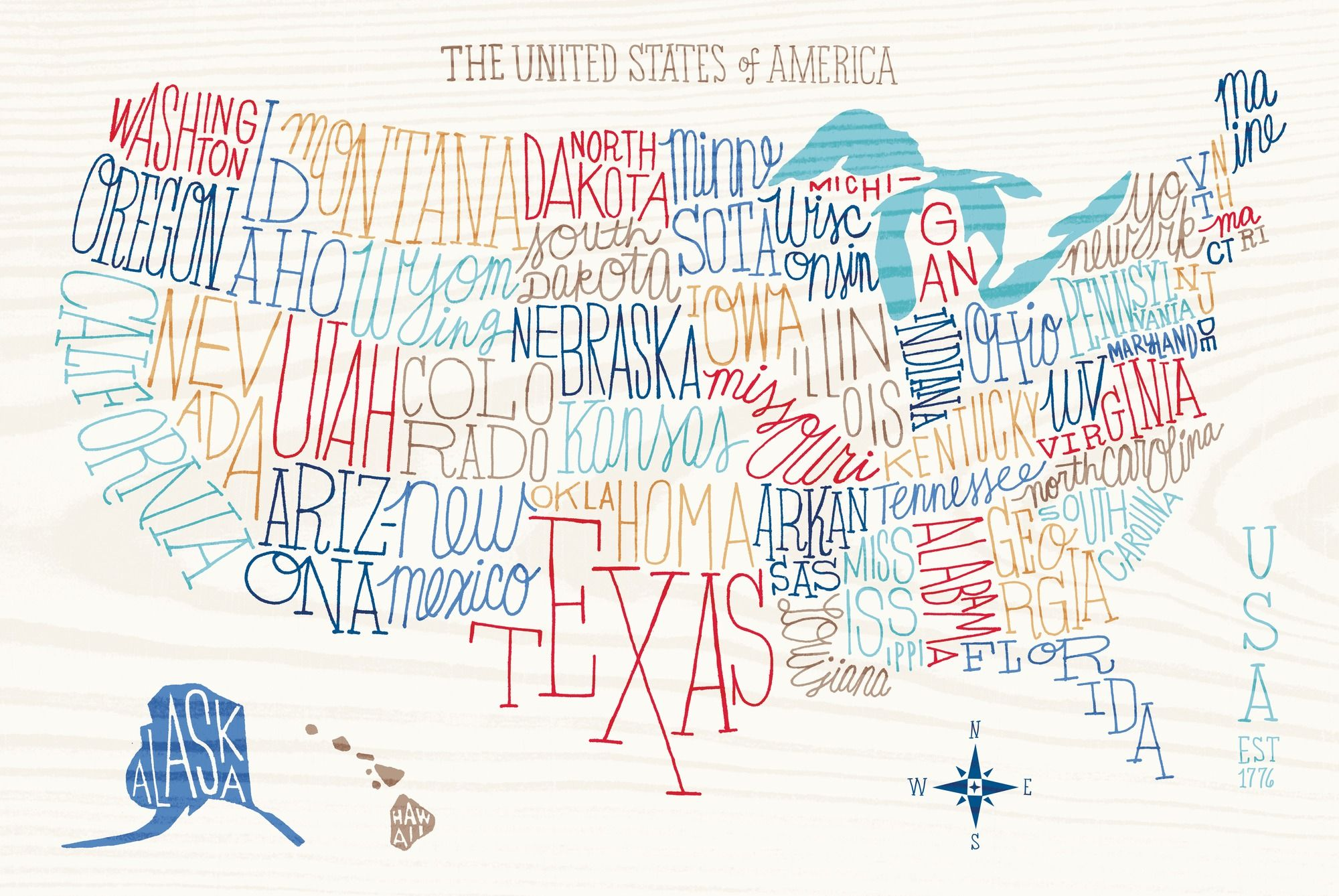 Hand Lettered US Map | Decorating Ideas | Pinterest | Wall murals ...