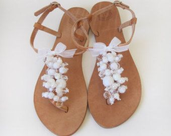 39c53784f Bridal shoes - Handmade Leather Sandals decorated with White beads and  ribbon