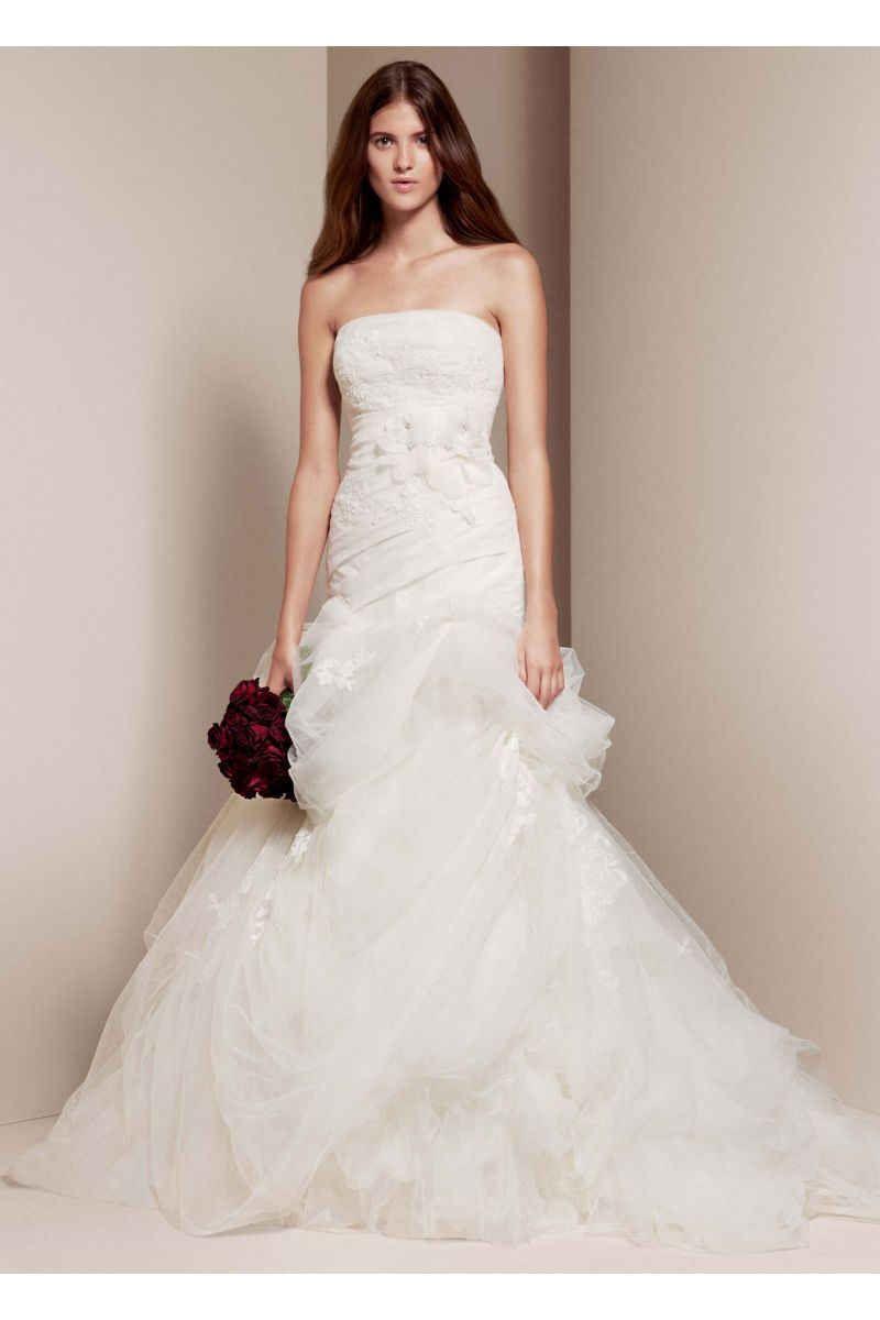 White By Vera Wang Strapless Trumpet Wedding Dress Style Vw351166 Davids Bridal Wedding Dresses Wedding Dresses Vera Wang Fit And Flare Wedding Dress