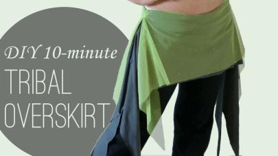 DIY tribal overskirt hip skirt with side ruffles