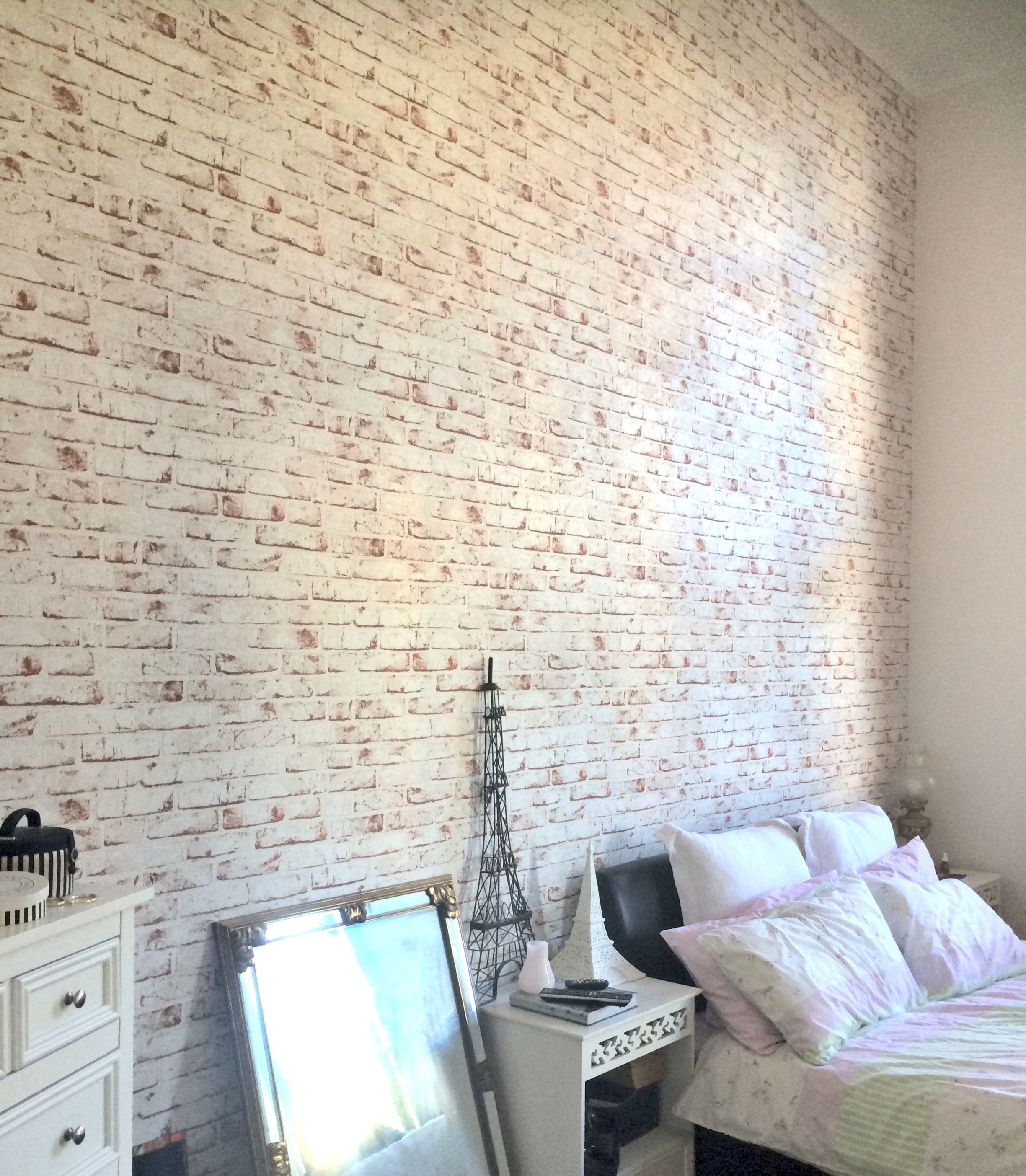 Image result for whitewashed brick bedroom White wash
