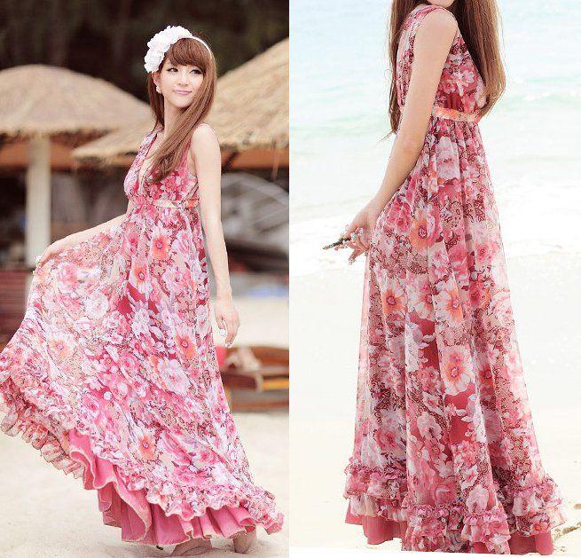 Pink Chiffon Floral Dress