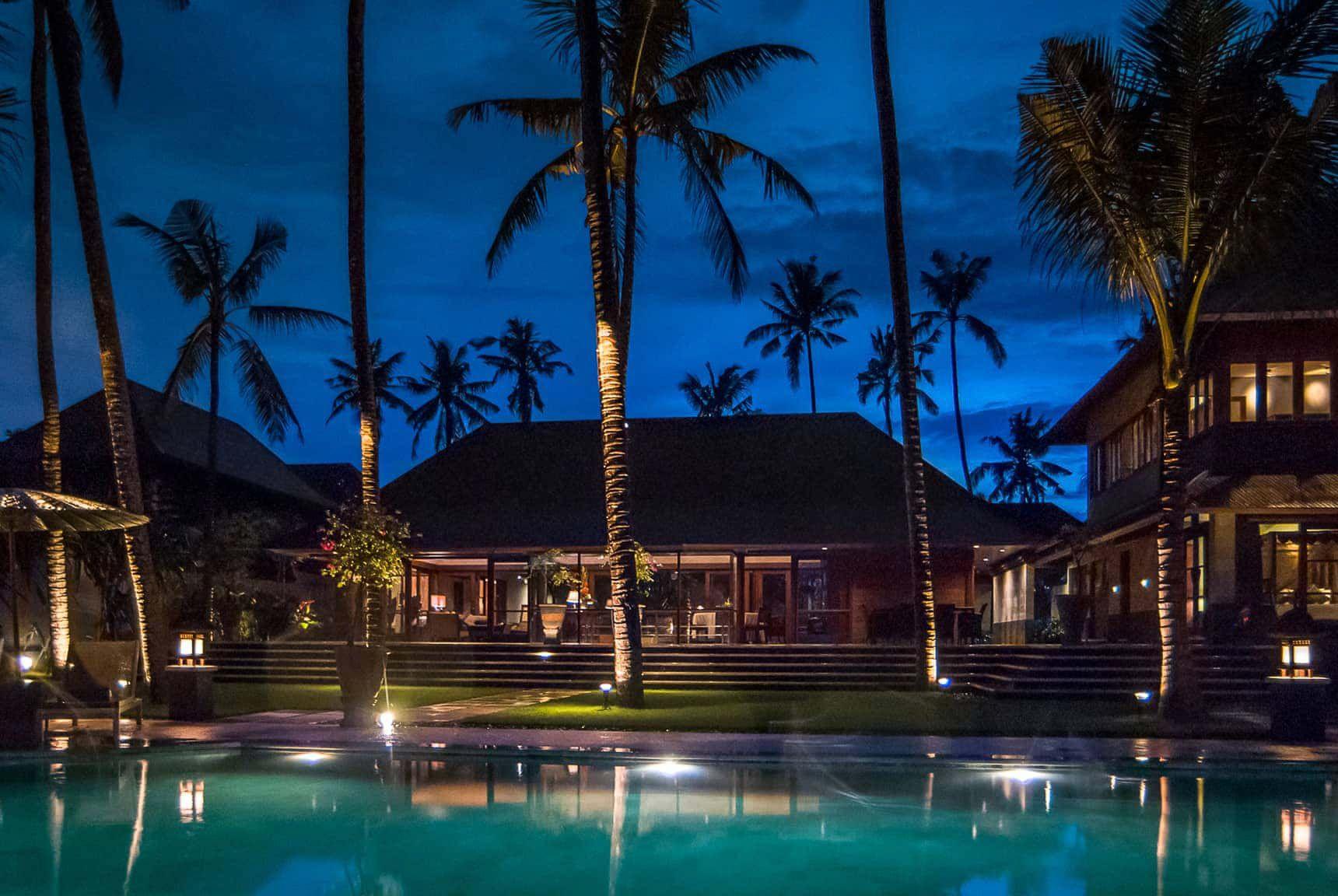Bali Villa Photography Villa Pushpapuri Pool Views Dusk Lighting Bali Luxury Villas Bali Villa