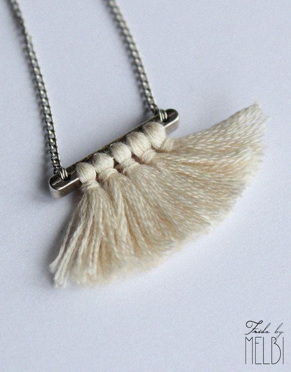 White necklaceFiber necklace Tassel necklace by MelbiAtelier