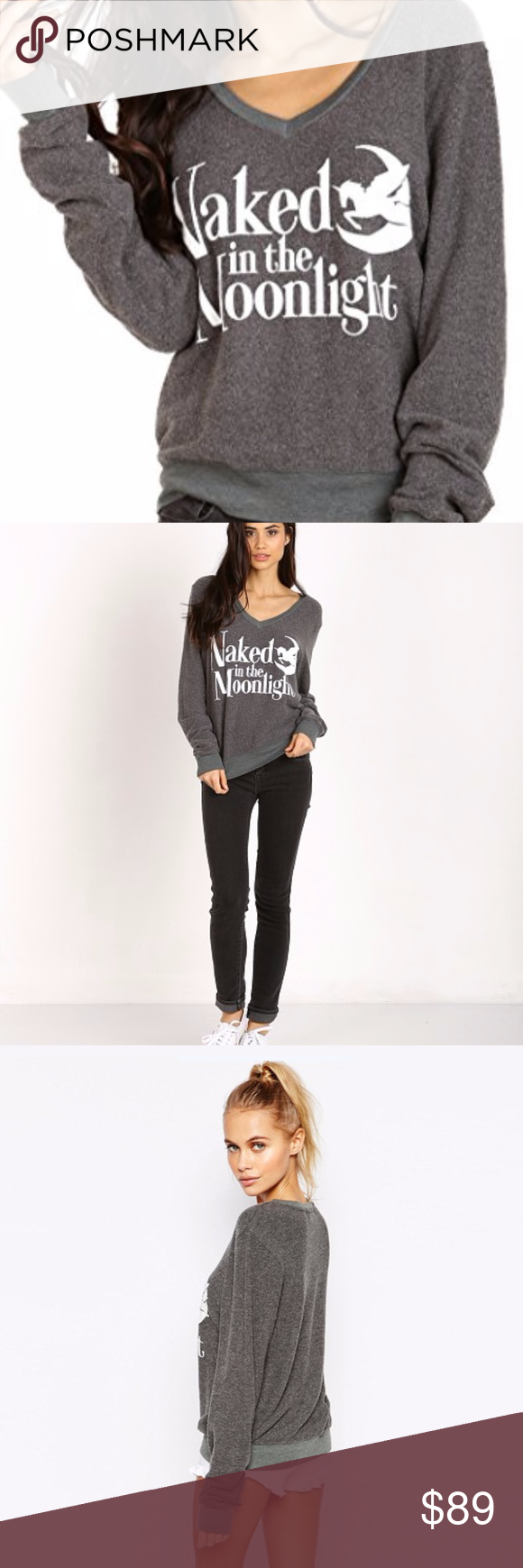 Gray Sz Color S Wildfox Naked in the Moonlight V-Neck Baggy Sweatshirt