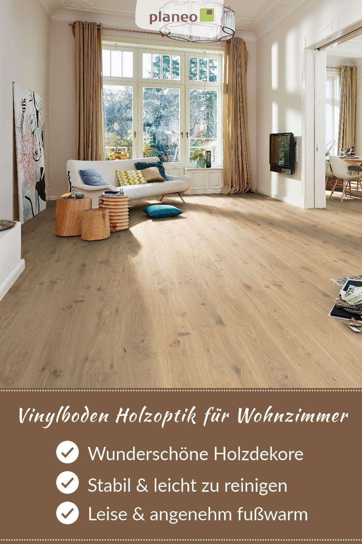 Vinylboden Holzoptik für Wohnzimmer, stabil, leicht zu reinigen, leise