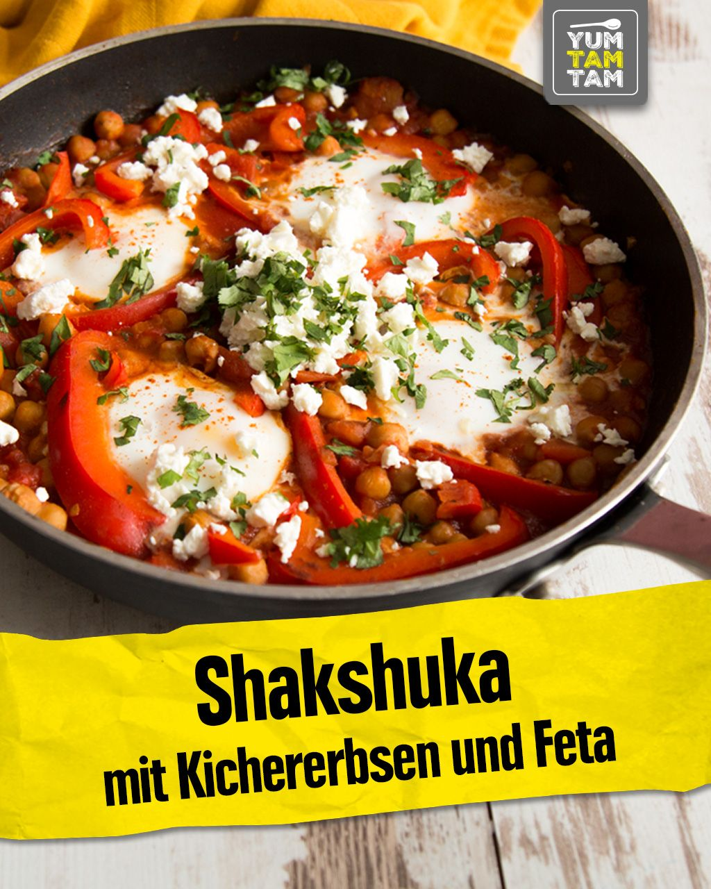 Shakshuka mit Kichererbsen und Feta