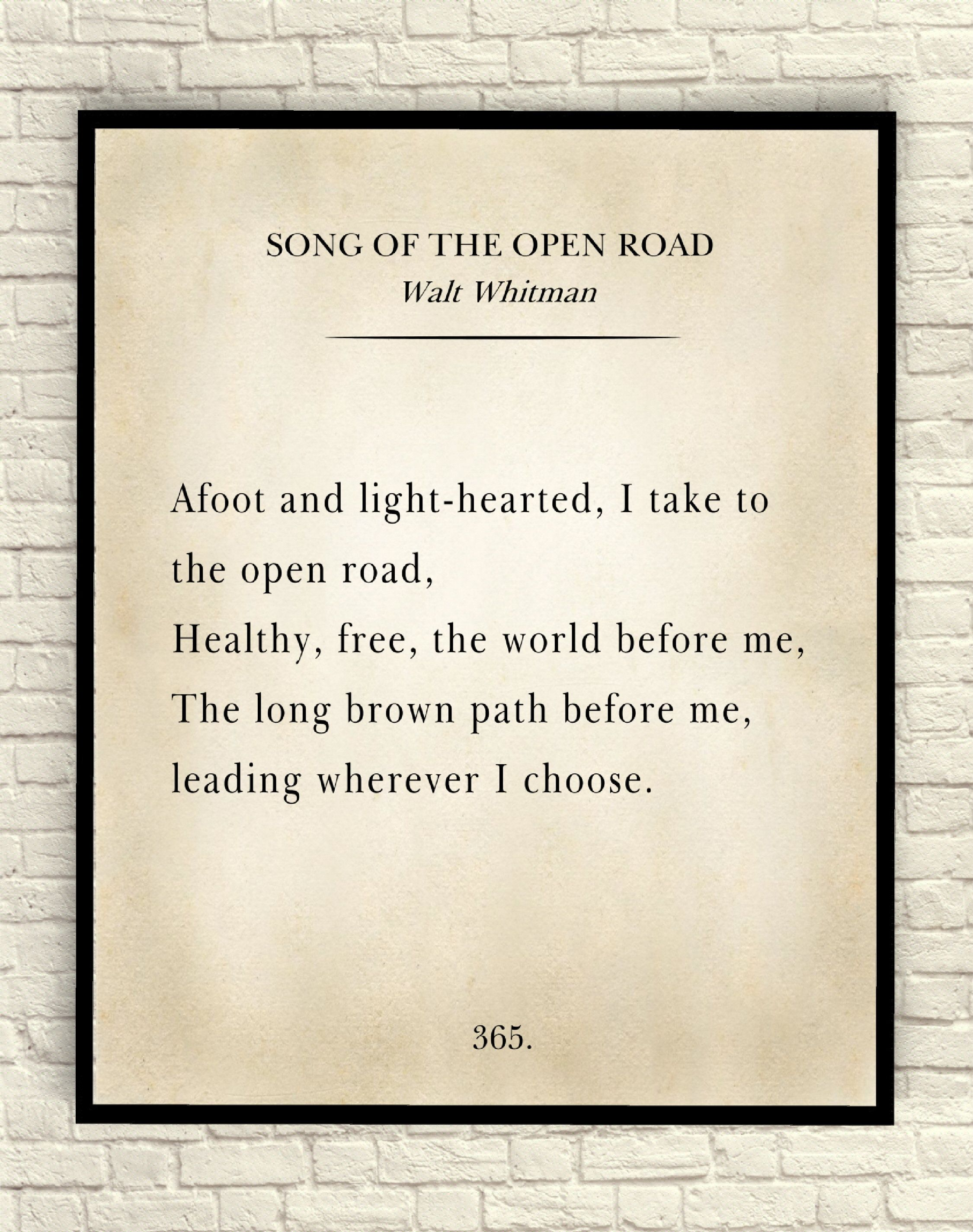 Walt Whitman Poem Far From The Open Road Inspirational Poetry