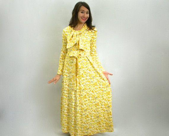 Diane von Furstenberg 70s Yellow Floral Maxi Dress, DVF Dress, Medium